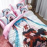 ZHOUING-- Japan Anime Dekorative Bettwäsche-Set, Date A LIVE[ときさき くるみ], Dekorative 4 Stück Bettwäsche-Set - Hypoallergen Und Wrinkle Resistant - Für Anime-Fans,1.2M