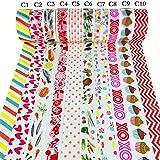 Cosanter Cosanter 10PCS de Washi Tape Cintas Decorativas Patrón de Color para Manualidades y DIY