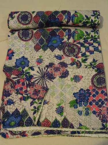 Tribal Asian Textiles Indian Ikat Kantha Quilt Embroidered Bedspread Throw Gudri Queen Blanket