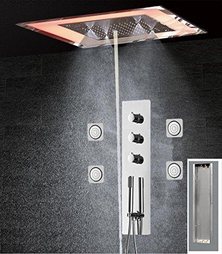 WEITING Massage Dusche Panel mit Luxus-LED-Kopf Thermostat Duscharmatur mit Platz Edelstahl-Duschkopf Dusche