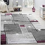 Paco Home Alfombra De Diseño Contorneada Abstracta De Cuadros Y Líneas Jaspeada En Gris Y Lila, tamaño:120x170 cm