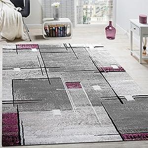 comprar suelo radiante: Paco Home Alfombra De Diseño Contorneada Abstracta De Cuadros Y Líneas Jaspeada ...