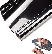 ZJELKY Folie Fenster Verdunkelungsfolie Fensterfolie Spiegel Tönungsfolie Kratzfest Wärmeisolierung UV-Schutz Silber