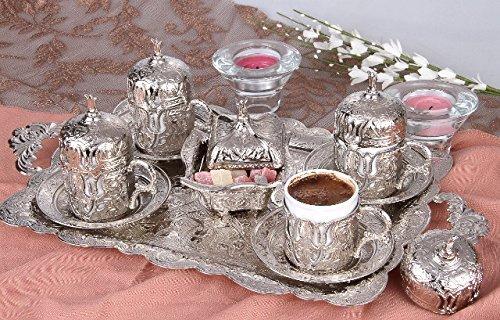 Mokkaservice Set Türk Kahve Seti mit 4 Tassen in Silber