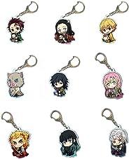 9 pcs Anime Keychain Demon Slayer: Kimetsu no Yaiba Kamado Nezuko Double Sided Key Chain Cosplay Cartoon Adults Child Keyrin
