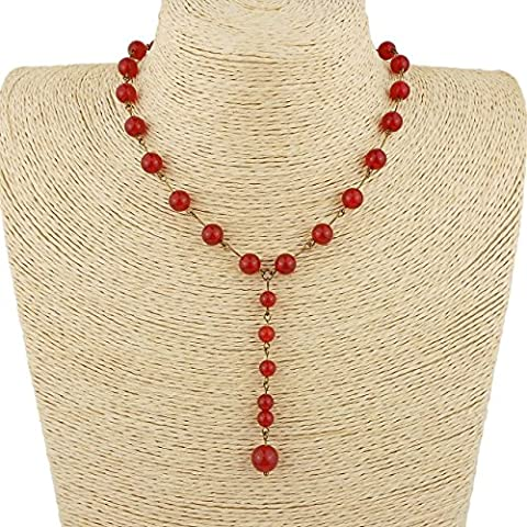 Red Carnelian Y Necklace with Leaf Clasp in an Antique Bronze colour, includes Gift Box