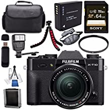 Fujifilm X-T10 Mirrorless Digital Camera With 18-55mm Lens (Black) 16471005 + NP-W126 Lithium Ion Battery + Sony 64GB SDXC Card + Carrying Case + Flexible Tripod + Flash + Memory Card Wallet Bundle