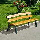 Parkbank mit Gussgestell - Sitz- und Rückenfläche Fichtenholz - geschwungen - Bank aus Holz Metall Kunststoff Gartenbank Holzbank Parkbank Ruhebank Sitzbank Bank aus Holz Metall Kunststoff Bänke aus