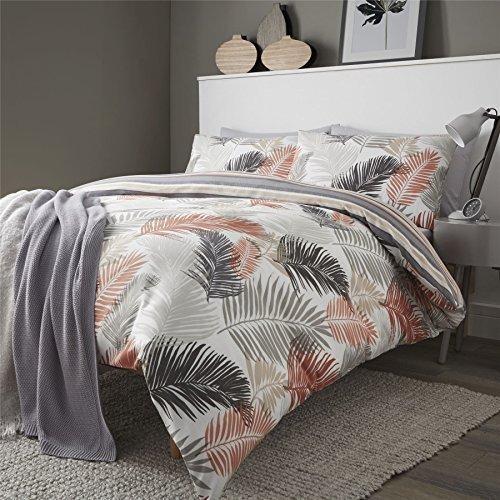 Palme Blätter Streifen orange Baumwollmischung Wende Doppelbett Bettwäsche (Orange Und Taupe Bettwäsche)