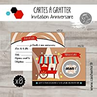 Cartes à gratter invitation anniversaire enfant garçon par lot de 8, bar à pop-corn - réf.17