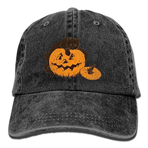 Men&Women Cat On Pumpkin Halloween Adjustable Vintage Washed Denim Cotton Dad Hat Baseball Caps Red Bio Washed Cap