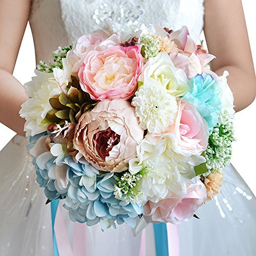 Sposa Con Bouquet.Amoleya Vintage Rose Artificiali In Azienda Di Nozze Bouquet Da Sposa Con Strass Pink Blue Flower