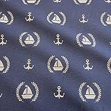 Stoff Meterware Baumwolle blau Anker Segelboot Lorbeer maritim Vorhang Kissen Tischdecke Bootsgardine