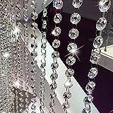 Lembeauty 10PCS 1m acrilico cristallo STRASS catena con perline perline ghirlanda tenda ottagonale per nozze Home Decor Transparent
