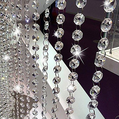 Acryl Kristall Strass Bead Girlande Vorhang achteckig Perlen-Kronleuchter Kette für Hochzeit Home Decor durchsichtig ()