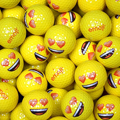 Emoji Erwachsene Golfbälle 48er Set neuartige Herz-Augen, Gelb, 48, EMGBB002#12-48PK Preisvergleich