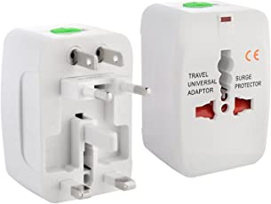 ClassyTek Universal Worldwide AC Power Plug Surge Protector All in One AU UK US EU Adapter Adaptor, White