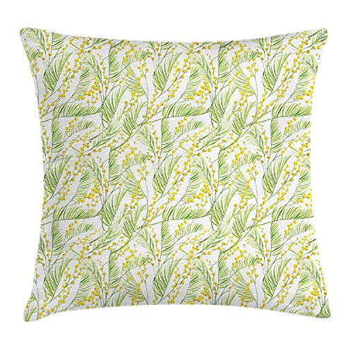Garden Art Throw Pillow Cushion Cover, Watercolor Mimosa Pattern Wild Spring Flowers Brush Strokes Effect, Decorative Square Accent Pillow Case, 18 X 18 inches, Apple Green and Yellow