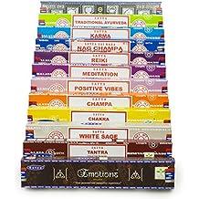 Set de regalo cajas de incienso 12 x 15 g Satya Sai Baba–Nag Champa variedad mezcla, incluye Nag Champa Super Hit, Chakra, Meditación, emociones, vibraciones positivas , Reiki, salvia blanca, Champa, Tantra, Karma, Ayurveda tradicional.
