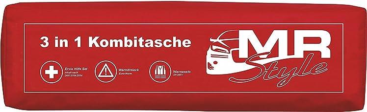 MR-Style 3in1 KFZ Verbandskasten Kombitasche - Trio mit Warnweste, Erste Hilfe Set und Warndreieck (Rot)