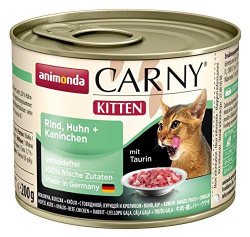 animonda Carny Kitten Katzenfutter, Nassfutter für junge Katzen, mit Rind, Huhn und Kaninchen (6 x 200 g)