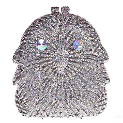 Santimon Donna Pochette Borsa Gufo Diamante Cristallo Borsellini Borse Da Festa di Nozze Sera Con Tracolla Amovibile 3 Colori argento