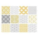 Adhésif carrelage - Sticker carreaux de ciment - Autocollant - Décoration - Chartmust (Jaune, Gris, Blanc, Noir) - 12 pièces (10 x 10 cm)