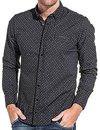 BLZ Jeans Chemise chic homme noir à motifs blanc et gris à pression