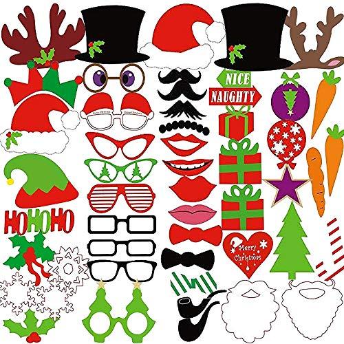 MMTX 50 Stück Weihnachten Photo Booth Selfie Rahmen Requisiten Santa Party Unisex Lustige DIY Kit für Weihnachten Weihnachten Event Gefälligkeiten Party Hochzeit Dekoration Kunst Handwerk Zubehör.