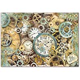 Reispapier 48x33cm - Gear wheels and clocks. Motiv-Strohseide, Strohseidenpapier, Decoupage Papier