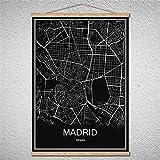 TIANLIANG Scroll Drawings Cartel Moderno Singapur World City Map Cuadro De Óleo con Marco De Lona Decoración del Hogar, Madrid, 40X60Cm Sin Marco