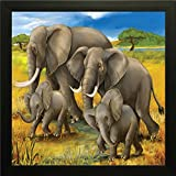 Printelligent Elephant Family Wall Painting || Wall Decor Painting || Wall Poster || Wall Stickers || Printelligent Exclusive Framed Wall Art Paintings For Living Room And Bedroom. Frame Size (12 Inch X 12 Inch, (Wood, 30 Cm X 3 Cm X 30 Cm, Special Effect