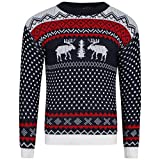 Mens Xmas Novelty Knitted Christmas Reindeer, To the Pub Jumper Size S-2XL