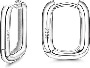 Adramata Orecchini a Cerchio Huggie in Argento 925 per Donna Orecchini a Cerchio Piccoli placcati in Oro 18 carati Orecchini a Forma di U Cerchio in Oro Bianco e Oro Giallo