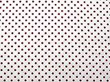 Kleiderstoff, 100% Baumwolle, gepunktet, Rot auf Weiß,