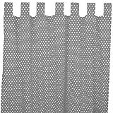 Sugarapple Dekoschal, Gardine, Vorhang (über 35 Farben wählbar) mit Schlaufen aus Baumwolle für Kinderzimmer und Babyzimmer. 2 Schals, Breite 143 cm, Länge 200 cm, Grau Punkte weiß