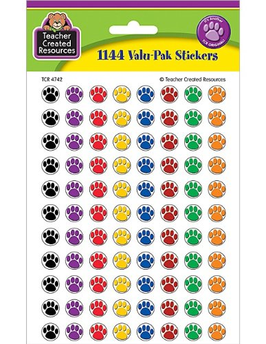 Teacher Created RESOURCES Colorful Paw Prints Mini Stickers Value Pack (4742) -