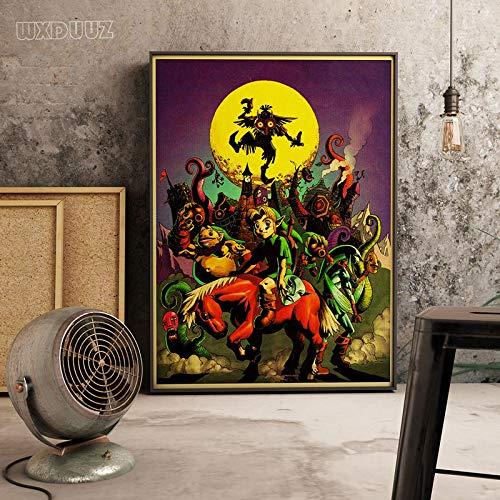 XWArtpic Gioco Online 3D Zelda Legend Art Retro Poster Camera dei Bambini Decorazione della casa Picture Art Decor Wall Art Canvas Painting 40 * 50cm