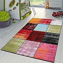 Alfombra, diseño moderno a cuadros, mezcla, para salón o habitación infantil, color rojo, negro, verde y rosa, 70 x 140 cm