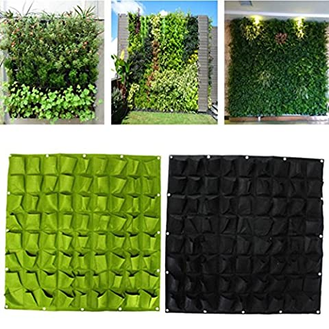 Kungfu Mall 72 Pockets Wall Hanging Felt Planter Bags Garden Indoor Outdoor Plant Growing Bag