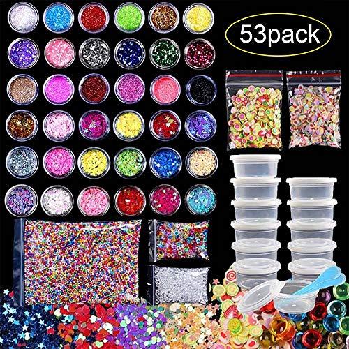 53pack DIY Foam Ball Bunte Slime Styropor Flache Perlen Glitter Weiche Keramiktabletten für Kinder und Erwachsene