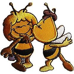 Toppe termoadesive - Biene Maja Willi Comic bambini - giallo - 6,7x6,3cm - Patch Toppa ricamate Applicazioni Ricamata da cucire adesive