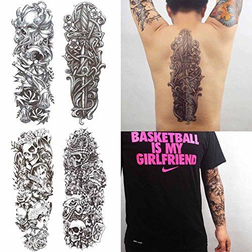 Cokohappy extra temporanei temporaneo tatuaggi tattoo cranio teschio snake serpente croce 4 diverso foglio pieno braccio manica