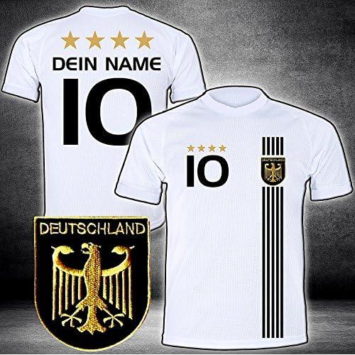Deutschland Trikot mit GRATIS Wunschname + Nummer + Wappen Typ #D 2017 günstig im EM/WM Weiss - Geschenke für Kinder…