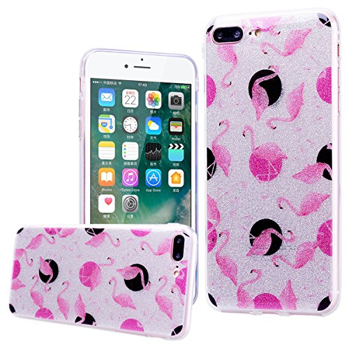"WE LOVE CASE iPhone 8 Hülle Glitzern Transparent Rosa iPhone 8 4,7"" Hülle Silikon Weich Cherry Handyhülle Tasche für Mädchen Elegant Backcover , Soft TPU Flexibel Case Handycover Stoßfest Bumper , Ult Flamingo"