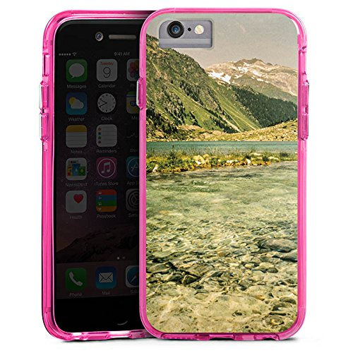 Apple iPhone 7 Bumper Hülle Bumper Case Glitzer Hülle Berglandschaft Forest Wald Bumper Case transparent pink