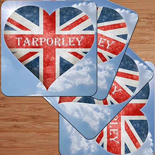 Love Tarporley-Union Flagge Herz Design Premium glänzend Untersetzer, Set 4Stück.