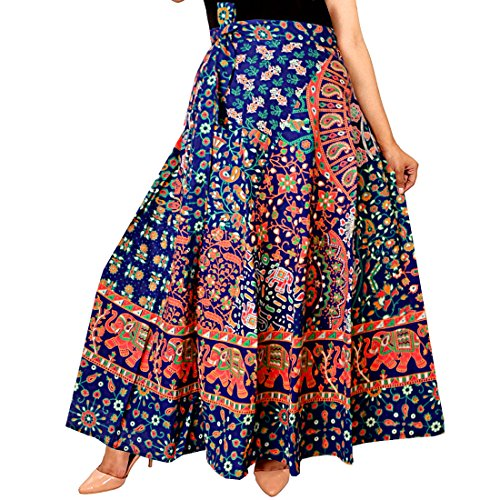 Jaipuri Rajasthani Cotton multi colour Block Print Straigh long Skirt for women