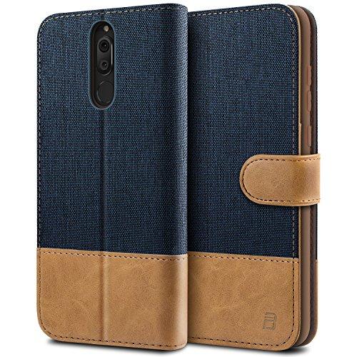 BEZ® Hülle für Huawei Mate 10 Lite Hülle, Handyhülle Kompatibel für Huawei Mate 10 Lite, Handytasche Schutzhülle Tasche [Stoff und PU Leder] mit Kreditkartenhaltern, Blaue Marine
