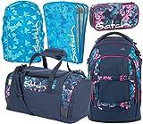 satch pack Awesome Blossom 5er Set Rucksack, Sporttasche, Schlamperbox, Heftebox & Regencape Blau